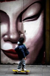 Boy with mural